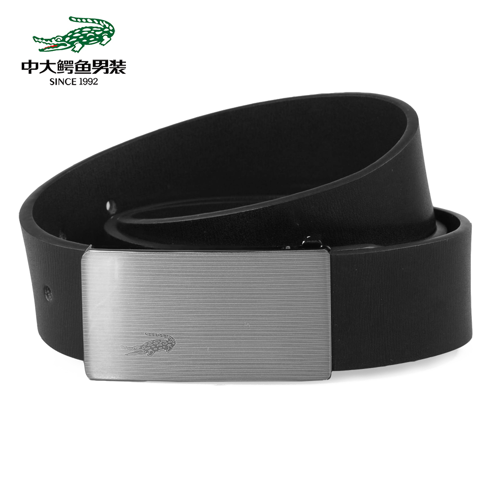 LEATHER BELT WITH CROCODILE ON BUCKLE PLATE