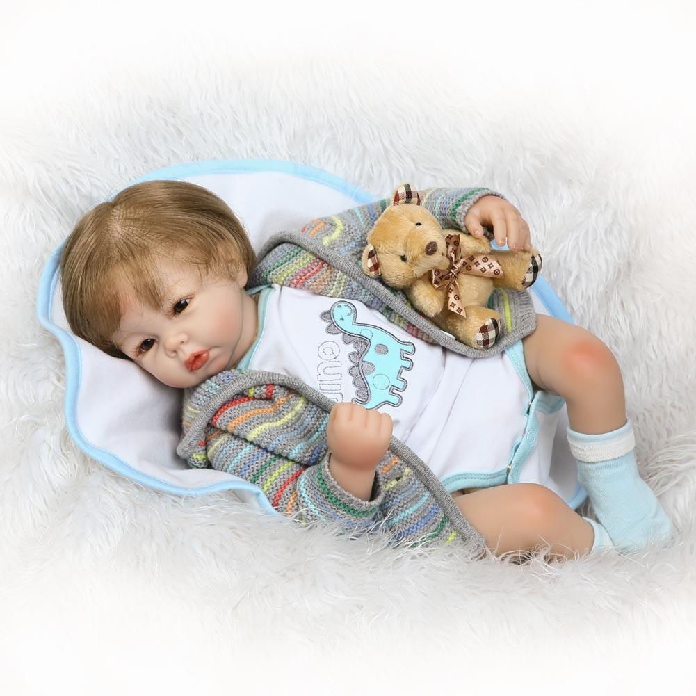 купить NPK 55CM Simulation Reborn Baby Doll Kids Silicone Lifelike Jointed Toys Boy Dolls Playmate Gifts BM88 по цене 5062.41 рублей