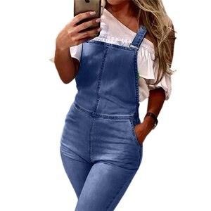 Image 4 - Primavera Verano pantalones vaqueros de pierna ancha Mono para mujer elegante femenino cintura alta campana inferior Jeans monos de talla grande