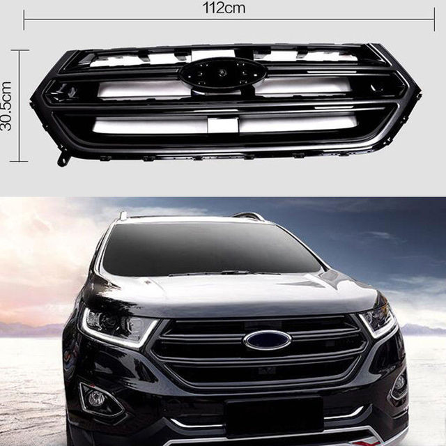 Black Front Grill Grille Sport Version With Camera Hole For Ford Edge