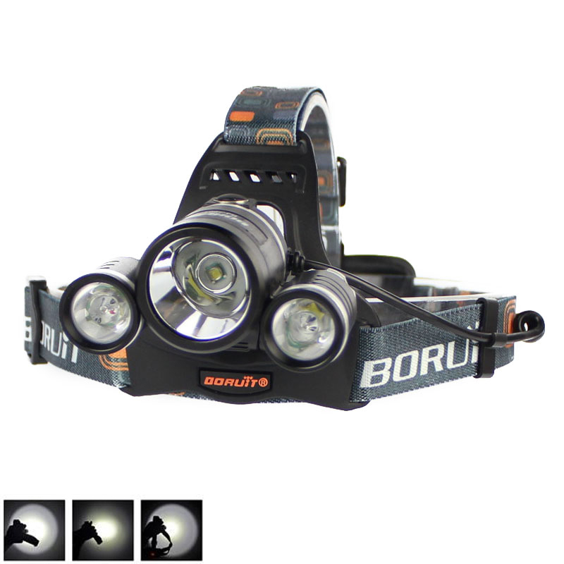 BORUIT 6000Lm 3x XML T6 LED 18650 Battery Headlight Headlamp Head Lamp Flashlight Torch Camping Fishing Cycling Rock Climbing
