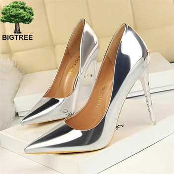 BIGTREE Patent Leather Thin Heels Office Shoes  Women Shallow Pumps Fashion High Pointed Toe Sexy - discount item  38% OFF Women's Shoes