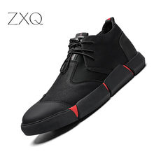 Shoes Men All Black England Style Men Casual Shoes Leather Breathable Fashion Men Shoes 2019 NEW High quality osco all season new men shoes fashion men casual breathable oxfords and men shoes 995706p 1