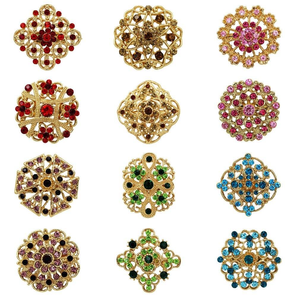 Оптовая продажа 12 шт. позолоченный красивый Многоцветный Кристалл Стразы цветок брошь булавки для женщин или свадьбы