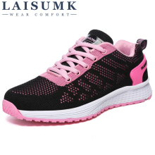 2019 LAISUMK Women Shoes Fashion Lace-Up Leisure Woman New Arrivals Breathable Sneakers Ladies Tenis Feminino
