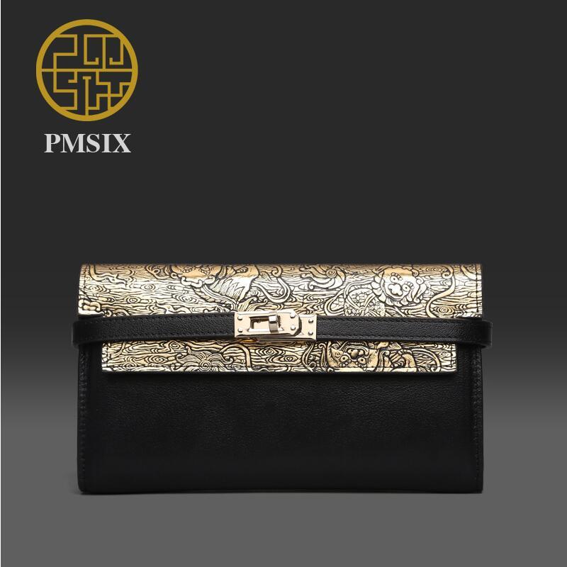 Genuine Leather Women bag  Pmsix  2016 new retro large-capacity wallet Dinner holding bag