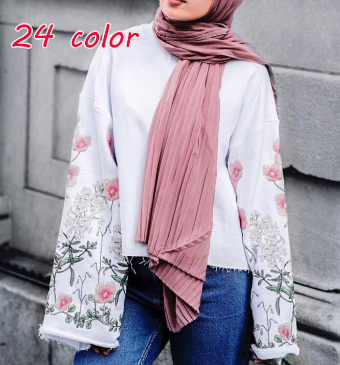 Laven Fashion Plain Pleat Bubble Chiffon Wrinkle Long Stripe Shawls Hijab Crumple Muslim Scarves/scarf 10pcs/lot 24 Color