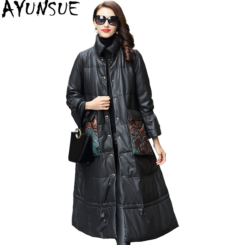 AYUNSUE Women's Winter Jackets Genuine Leather Jacket Women Long Down Coats Natural Sheepskin Coat Female chaqueta mujer WYQ2061