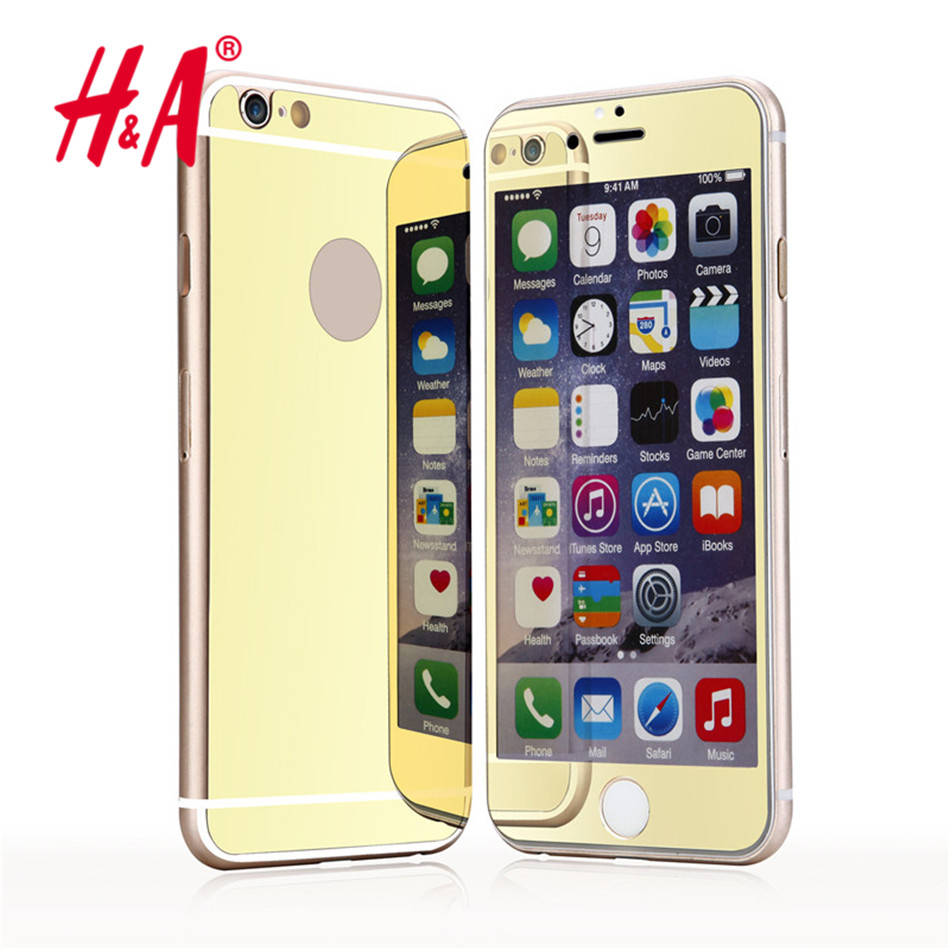 2 pcs/lot front + back Premium Mirror Electroplating Tempered Glass Screen Protector Cover Cases For iPhone 7 6 5 5s 4 4s