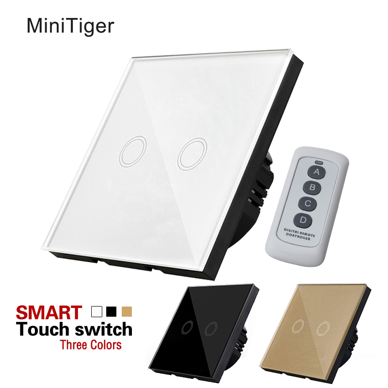 MiniTiger Crystal Glass Panel Touch Switch, EU Standard,  2 Gang 1 Way Remote Control Light Switch,Wall Switch, Touch Switch wall light touch switch 2 gang 2 way wireless remote control power light touch switch white and black crystal glass panel switch