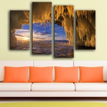 Direct Selling Modern Canvas New Product Print Painting Wall 4pc/set Russia Lake Winter Sunrise Art Picture For Living Room