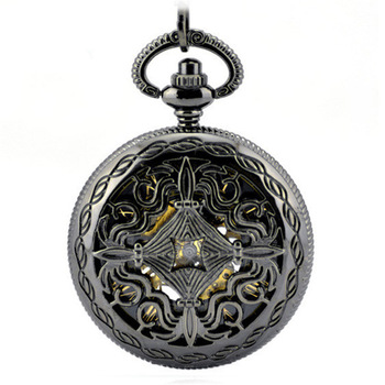 Hollow Skeleton Black Automatic Mechanical Pocket Watch Men Vintage Hand Wind Clock Necklace Pocket & Fob Watches Men