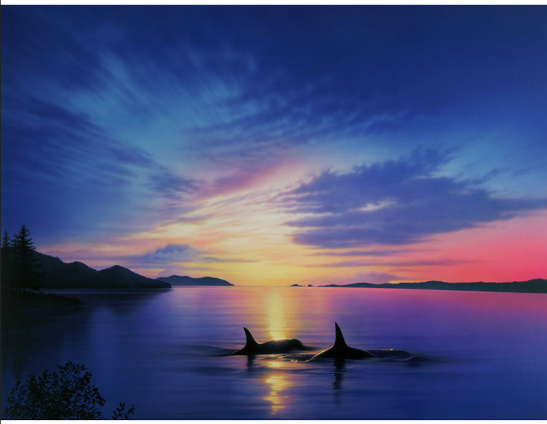 DIY 5d Diamond Painting embroidery Finless porpoise sunset scenery mosaic diamond embroi ...
