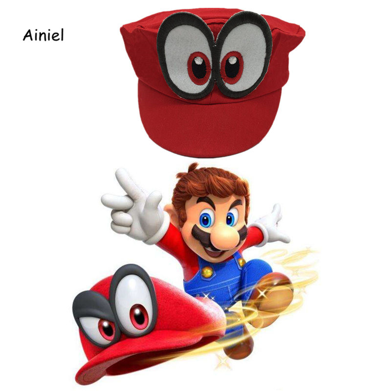 Ainiel Game Super Mario Odyssey Cap Red Adjustable Cotton Baseball Caps Unisex Leisure Sun Hats For Women Men Girl and Boys