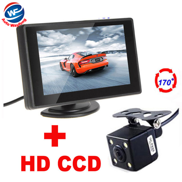 Auto Parking Assistance 4LED Night Vision Car CCD Rear View Camera With 3.5 inch Color LCD Car Video Monitor backup Camera