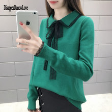 2019 Women'S Harajuku Fashion Korean Official Website College Wind Bow Tie With Lapel Kawaii Pullover Knitted Sweater For Women цена и фото