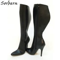 Sorbern Custom Wide Calf Boots For Customer Knee High Boots Pointy Toes 12Cm High Heel Womens Shoes Size 13 Black Matte Booties