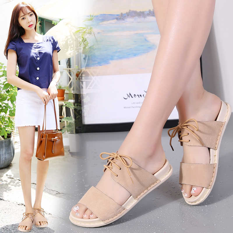 540adb923068d ... STQ 2019 Women sandals summer lace up ankle strap flat sandals Summer  Beach Sandals Women Flip