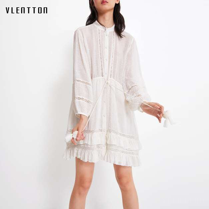 2019 Summer Sexy Lace Hollow Out Mini Women's Shirt Dresses Tulle Drawstring Ruffles A Line Party Dress Vestidos Robe Femme