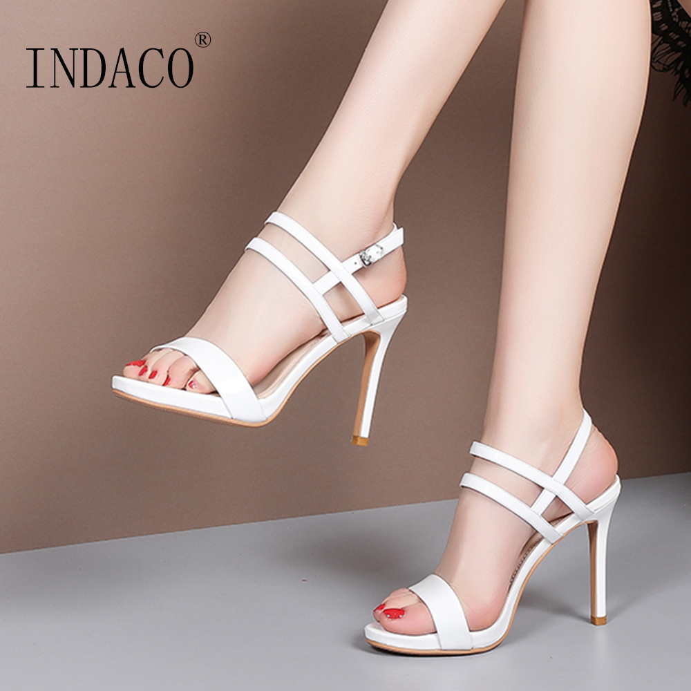 Sandals Women Summer Shoes Footwear 2019 New Patent Leather High Heel