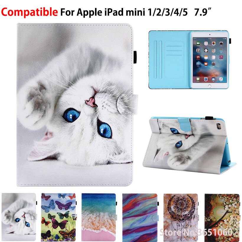 Cartoon Cat <font><b>Case</b></font> For Apple <font><b>iPad</b></font> Mini5 <font><b>2019</b></font> <font><b>Mini</b></font> 1 2 3 4 <font><b>5</b></font> 7.9 inch Smart Cover Funda Tablet Silicone PU <font><b>Leather</b></font> Stand Skin Shell image