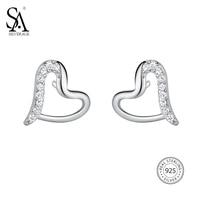 SA SILVERAGE Real 925 Sterling Silver Heart Stud Earrings For Women Fine Jewelry 925 Sterling Silver