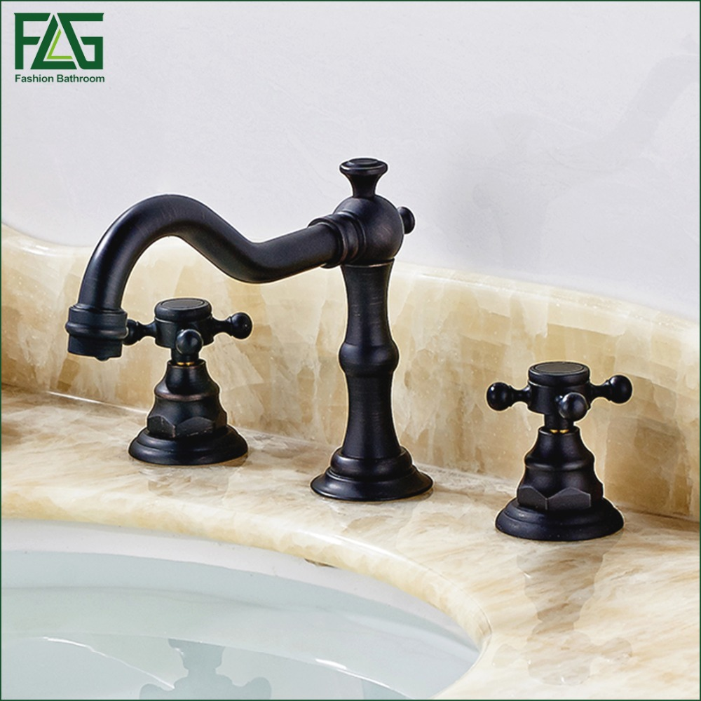 FLG New Arrival 3 holes Oil Rubbed Bronze Brass Deck Mounted Bath Basin Sink Faucet Bath Faucets Mixer Tap Bathroom Mixer 30006O