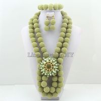 2019 Latest african beads necklace set nigerian wedding african beads jewelry set Free shipping HD2599