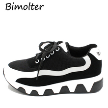 Bimolter Fashion Women Breathable Mesh Clunky Vulcanize Shoes Students Platform Soft Comfortable Casual Female Sneakers PFEB024