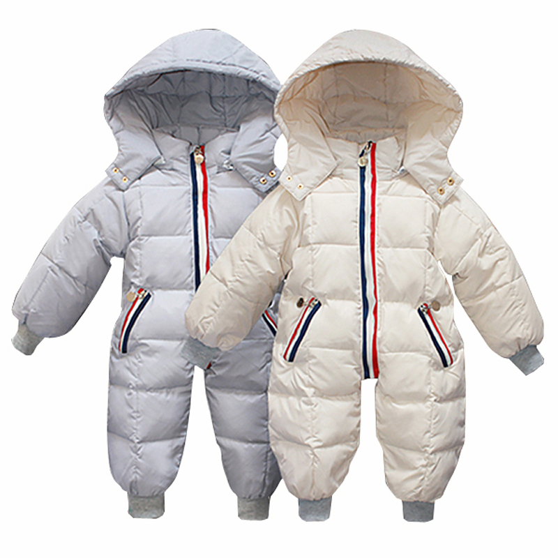 2018 Newborn Baby Snow Jumpsuit Winter Infant Rompers Overalls Down Jacket Baby Boys Girls Winter Clothing Outwear Hooded Parkas baby denim rompers fashion summer baby boys girls jeans overalls newborn cartoon clothing kids playsuit infant bebes jumpsuit