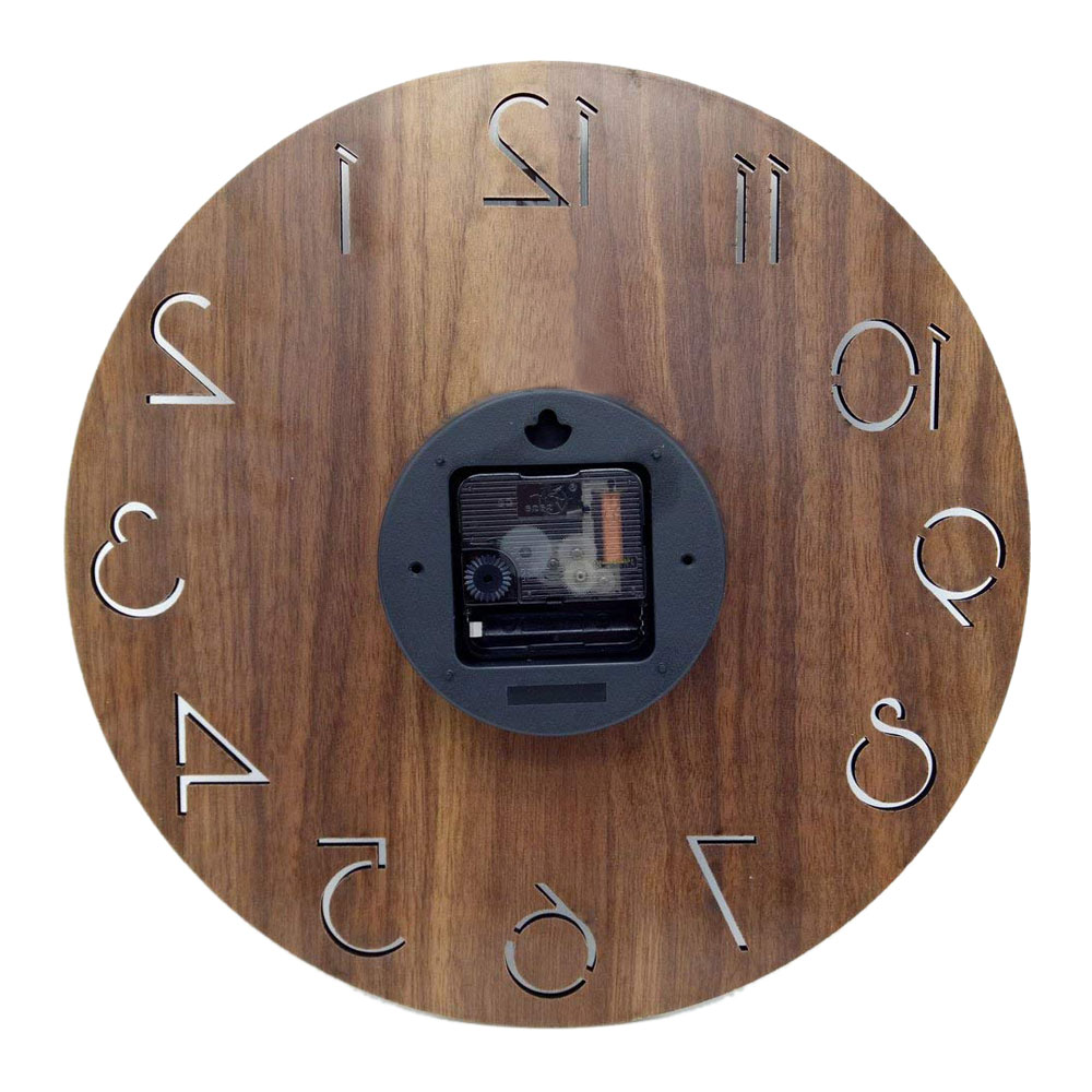 12 inch Creative Wall Clock Vintage Arabic Numeral Design Rustic Country Tuscan Style Wooden Decorative Round Wall Clock 10
