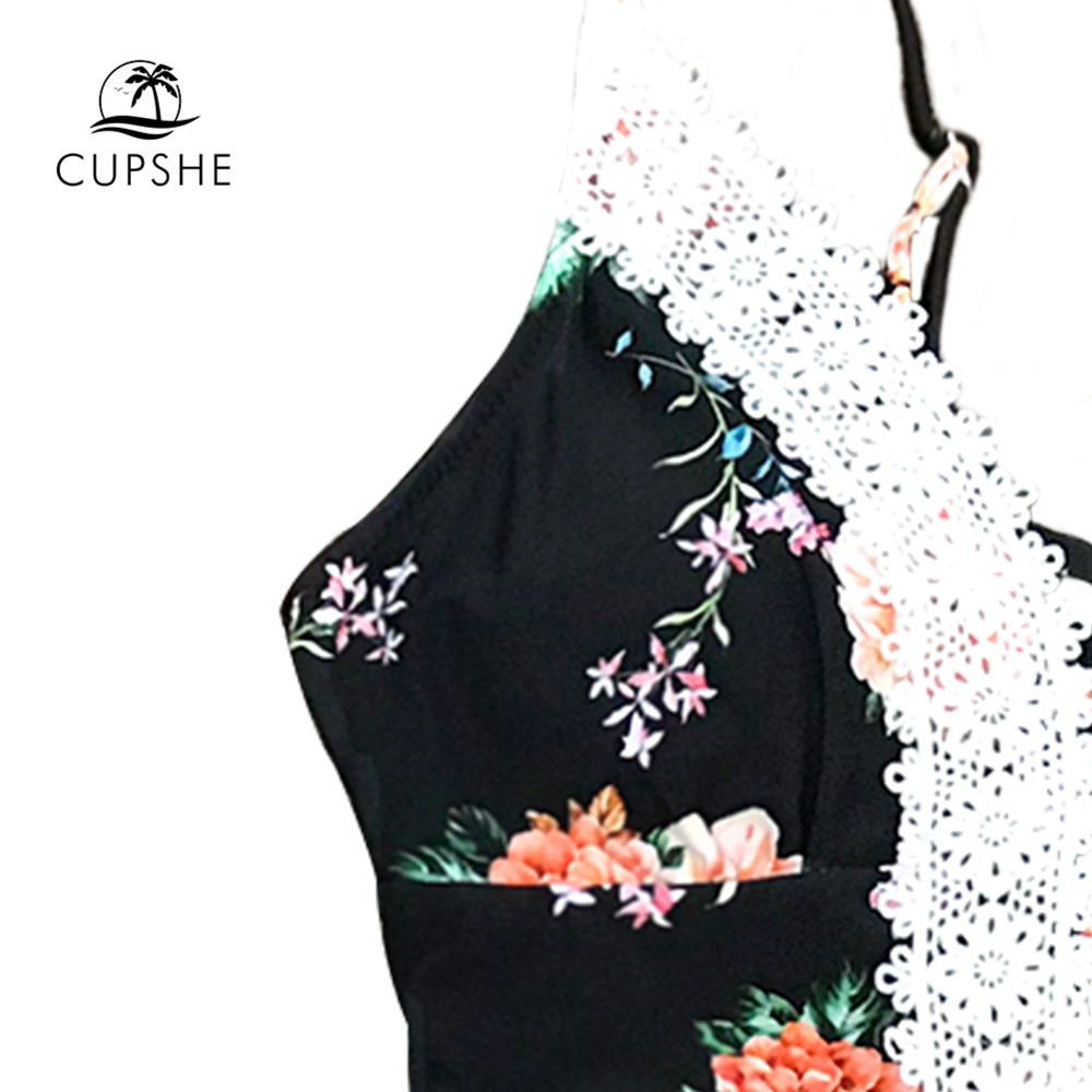 CUPSHE Floral Print Lace One-Piece Swimsuit Women V-neck Backless Monokini Bathing Suits 2019 Girl Sexy Swimwear