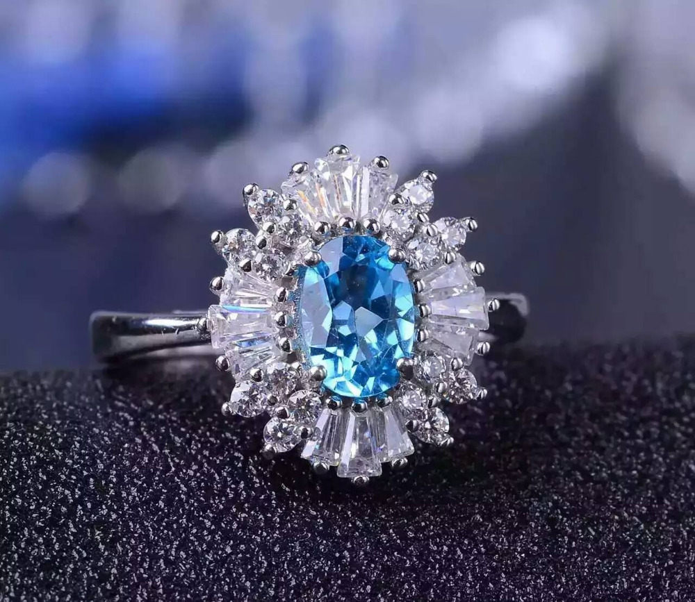 Natural blue topaz gem Ring Natural gemstone ring 925 sterling silver trendy Luxury Flowers Sunflower women party fine Jewelry flowers mexican sunflower motorola droid 2 skinit skin