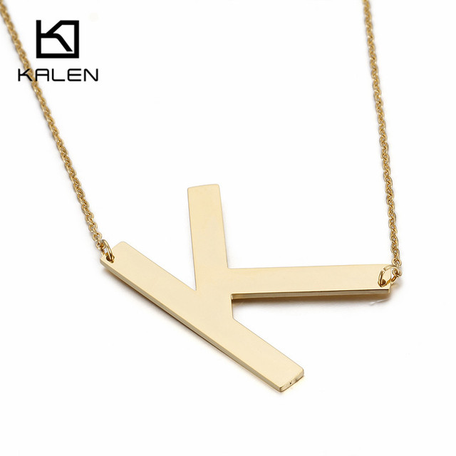 Letter k Necklace ALP Kalen Kazakhstan Gold Color Capital Letter K Necklace Men's Cheap Stainless  Steel English Name Initial Letter K Pendant Necklace