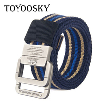 TOYOOSKY 2018 Military Equipment Tactical Belt Man Mens 3.8CM Double Ring Buckle Thicken Canvas Belts for Men Waistband 115CM