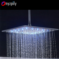 LED Shower Head 16 Inch Square Oil Rubbed Bronze Black Shower Head Replacement Rainfall Wall Mounted or Ceiling Mounted