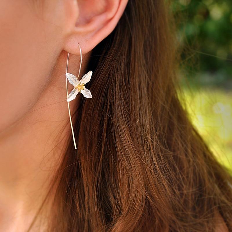Lotus Fun 925 Sterling Silver Earrings Natural Handmade Fine Jewelry Vintage Poetic Clover Fashion Long Drop