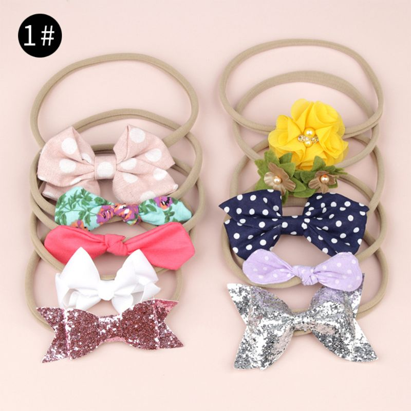 New Baby Girls Bows Headband 10pcs set Stretchy Nylon Headbands for Girls Cute Prints Bows Headband Set Kids Hair Accessories in Hair Accessories from Mother Kids