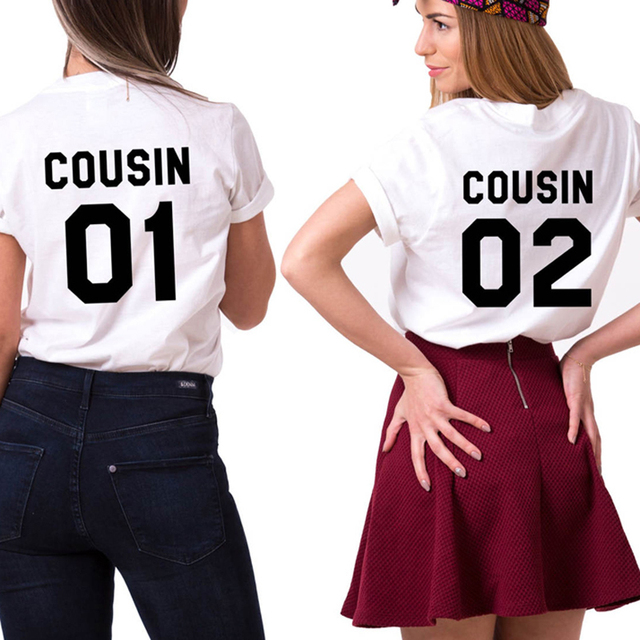 229d2cdada4a6b Cousin 01 Cousin 02 T Shirts Match Family Letter tshirts girls boys summer  cotton short Sleeve Summer Women Tops Tees