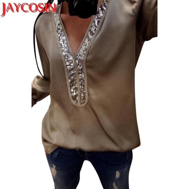 3f3fa4dda7542c 2018 t shirt Fashion Womens Casual Sexy Sequins Long Sleeve V-Neck Tops  Casual T-Shirt Dropshipping women t-shirt July 25