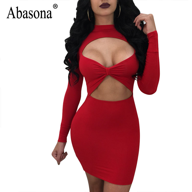Abasona Sexy Women Dresses Spring Autumn Long Sleeve Cut Out Dress Party Club Wear Bodycon Pencil Drss Plus Size Female Robe ...