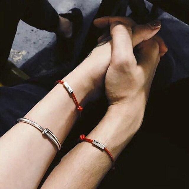 Ruifan rouge corde Couple hommes 925 argent Sterling Bracelets pour femme Bracelet mâle porte-bonheur Bracelet bijoux de mariage YBR018