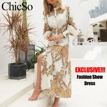 MissyChilli Vintage floral print long boho dress Women maxi beach summer dress Elegant spring long sleeve party shirt dress robe(China)