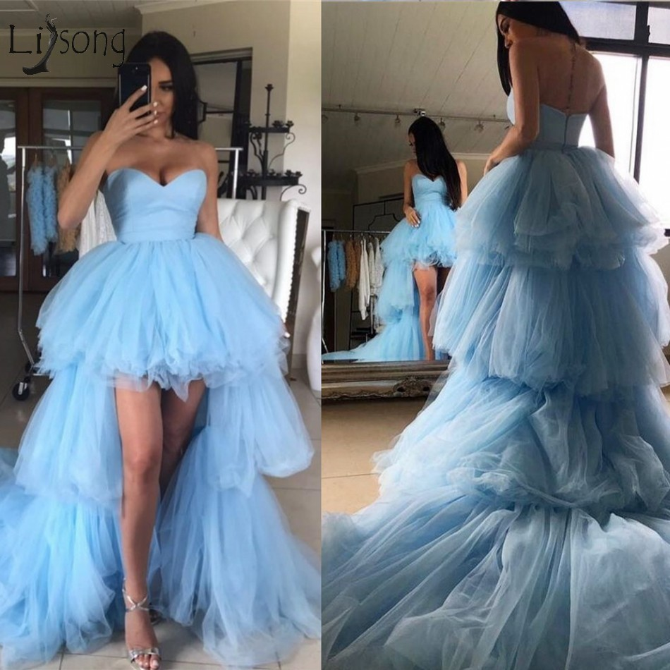 2019 Fashion Ruffles High Low Tutu   Prom     Dresses   Tiered Trendy Long Tulle   Prom   Gowns Sweetheart Off Shoulder Vestidos Longo