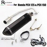 Pcx125 150 мотоциклетные выхлоп полный Системы изменение мото глушитель дБ убийца спереди MID трубы ссылку слипоны для Honda pcx125 pcx150