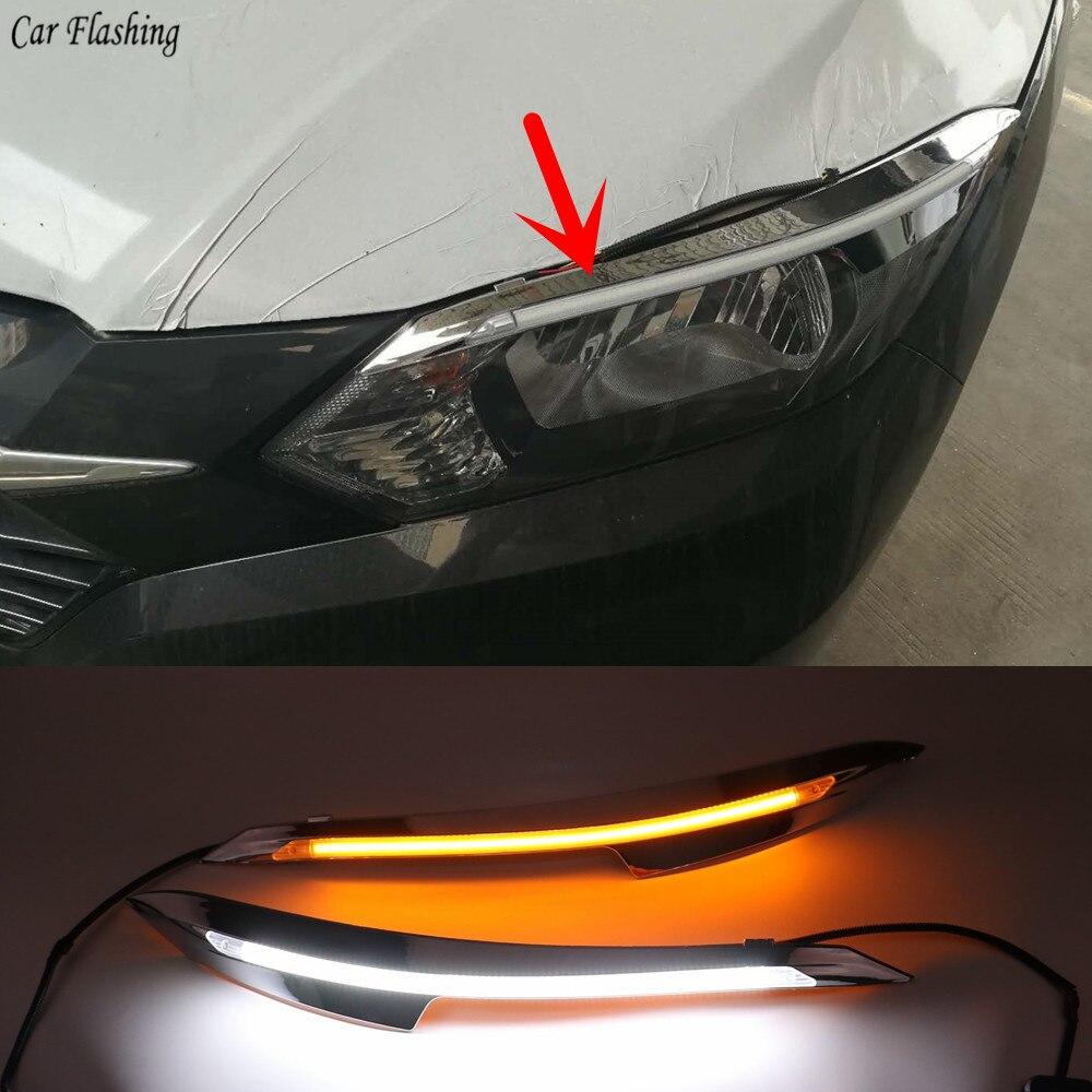 2PCS LED Daytime Running Light For Honda HRV HR V 2015 2016 2017 2018 Yellow Turn