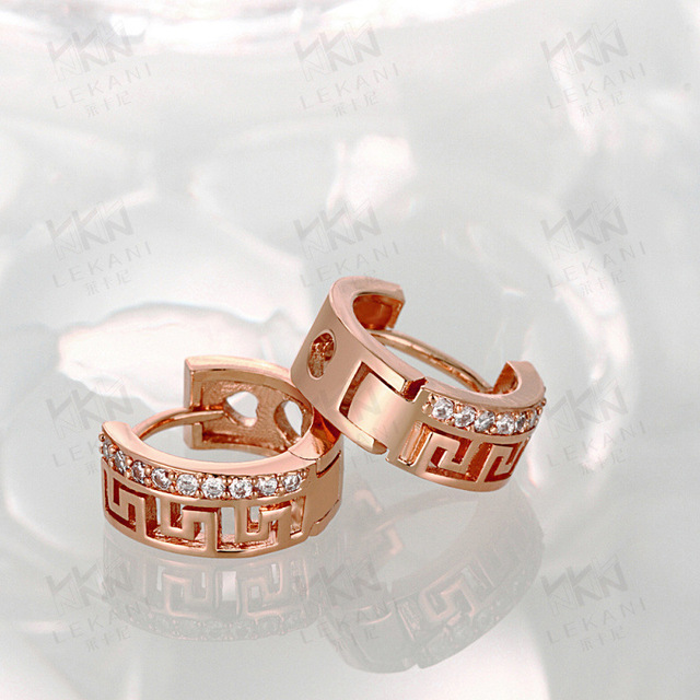 Hueco de La Vendimia Rose Gold Filled Womens Pendientes de Aro de Regalo de La Manera