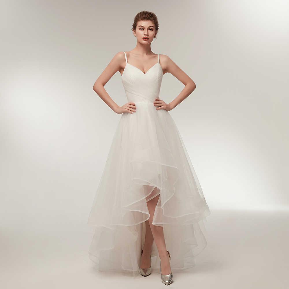 9c4ed0d4b9d2cdb Романтичное свадебное платье короткое спереди и длинное сзади бретельках  v-образный вырез с оборками фатиновый