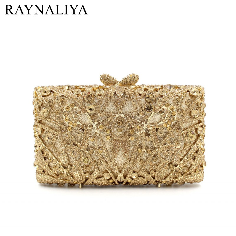 Hollow Out Floral Rhinestones Evening Party Small Clutch Bridal Purse Wedding Gold Crystal Women Clutches Handbags SMYZH-E0046 luxury crystal clutch handbag women evening bag wedding party purses banquet