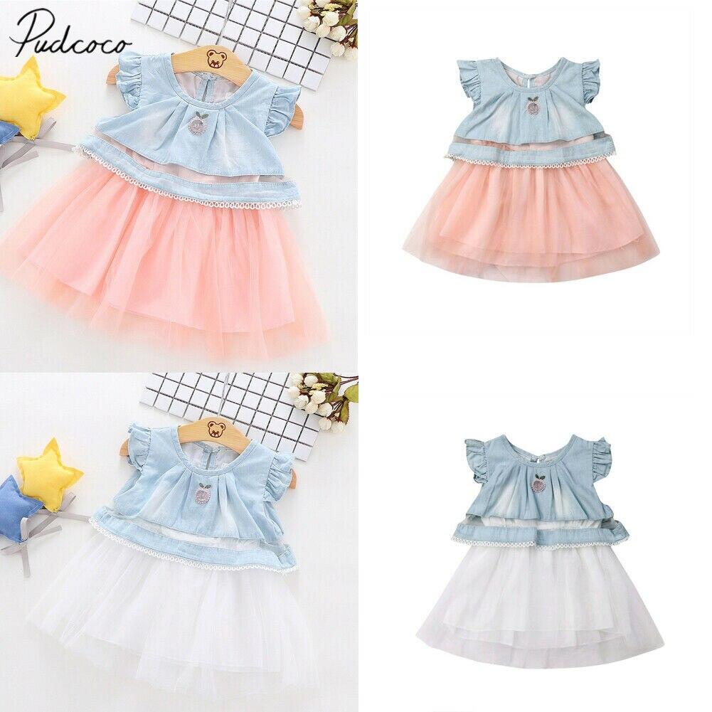 Dresses 2019 Children Summer Clothing Infant Toddler Kids Baby Girl Denim Chiffon Dress Princess Gown Tulle Sundress Tutu Dress 3m-4t Online Discount